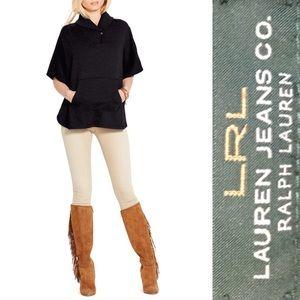 RALPH LAUREN JEANS CO. Black Cape Poncho Sweater